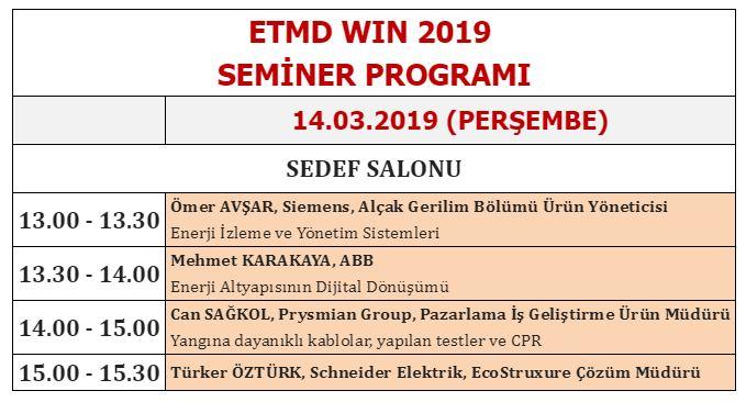 WİN Eurasia 2019 Da ''ETMD Seminer Programı'' 1