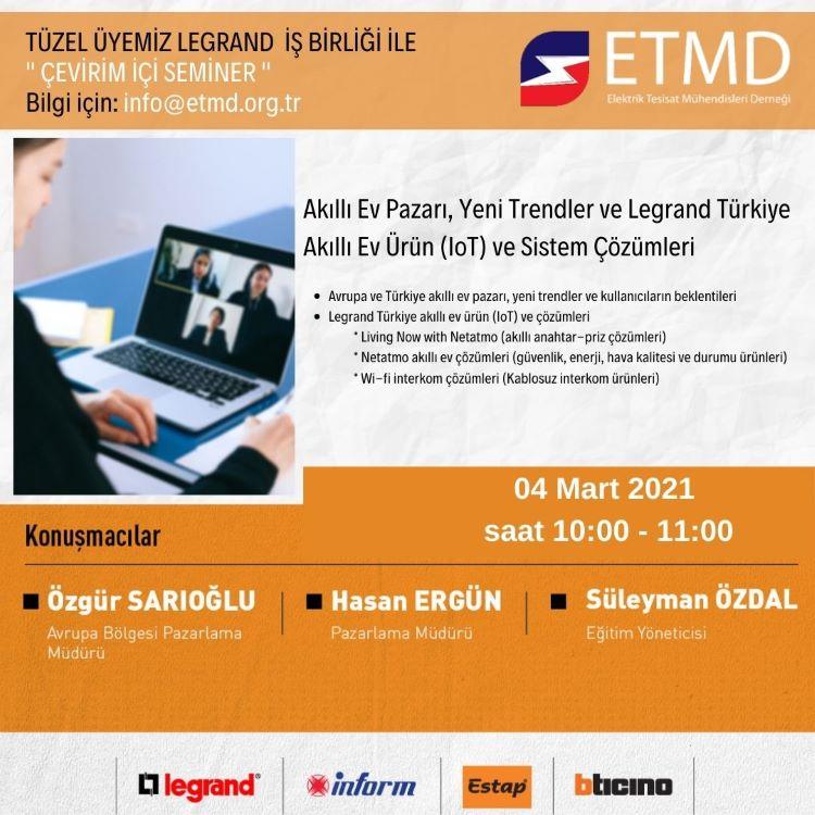 Online Seminer; Akıllı Ev Pazarı, Yeni Trendler ve Legrand Türkiye Akıllı Ev Ürün (IoT) ve Sistem Çözümleri 1