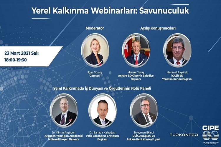 TÜRKONFED – Center for International Private Enterprise (CIPE) İşbirliğiyle; Yerel Kalkınma Webinar'ları Başlıyor.