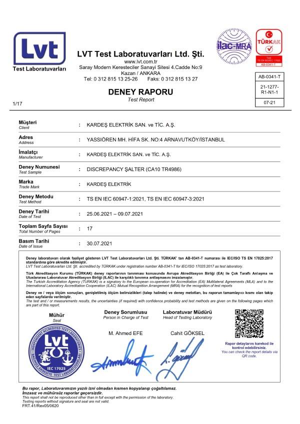 Kraus Naimer Markasının Türkiye'de Lisanslı Üreticisi Olan Kardeş Elektrik, Türkiye Discrepancy Şalter Pazarına 2020 Yılının Başında Girmiştir! 4